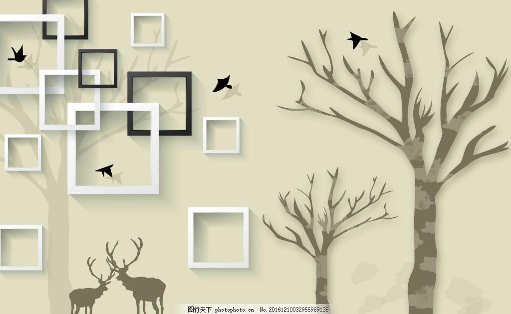 手绘简约背景 树 小鹿 方框 壁画 壁纸 黑白框 鸟 剪影背景