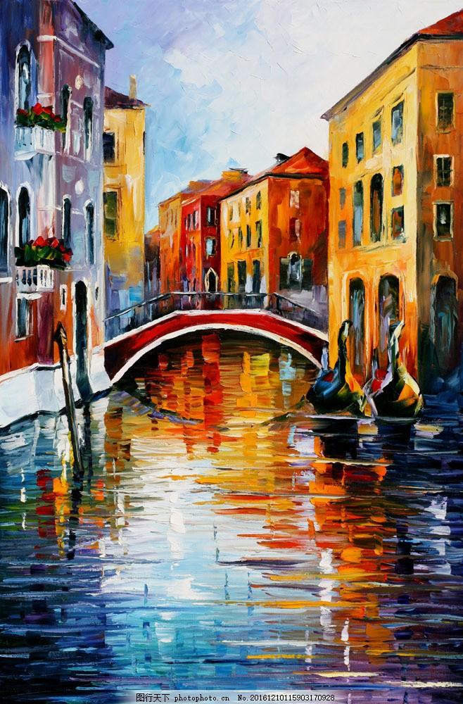 石桥油画图片素材 无框画 装饰画 挂画 壁画 油画 绘画艺术 风景油画
