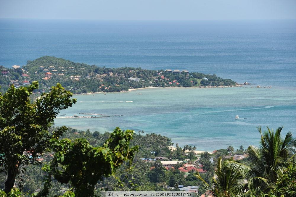 鸟瞰大海边城市美景图片素材 大海 城市 树 建筑物 自然风光 山水风景