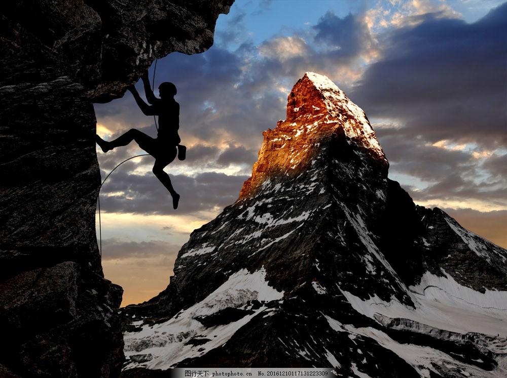 攀岩的人物图片素材 雪山 高山 山峰 攀岩 登山 体育运动 体育项目