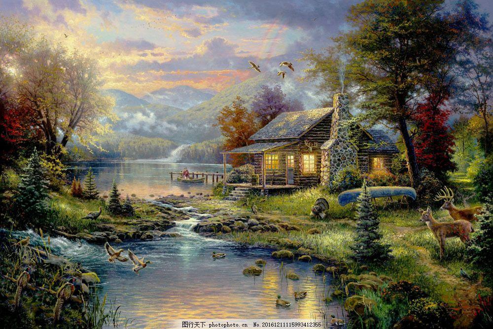 乡村房屋风景油画图片
