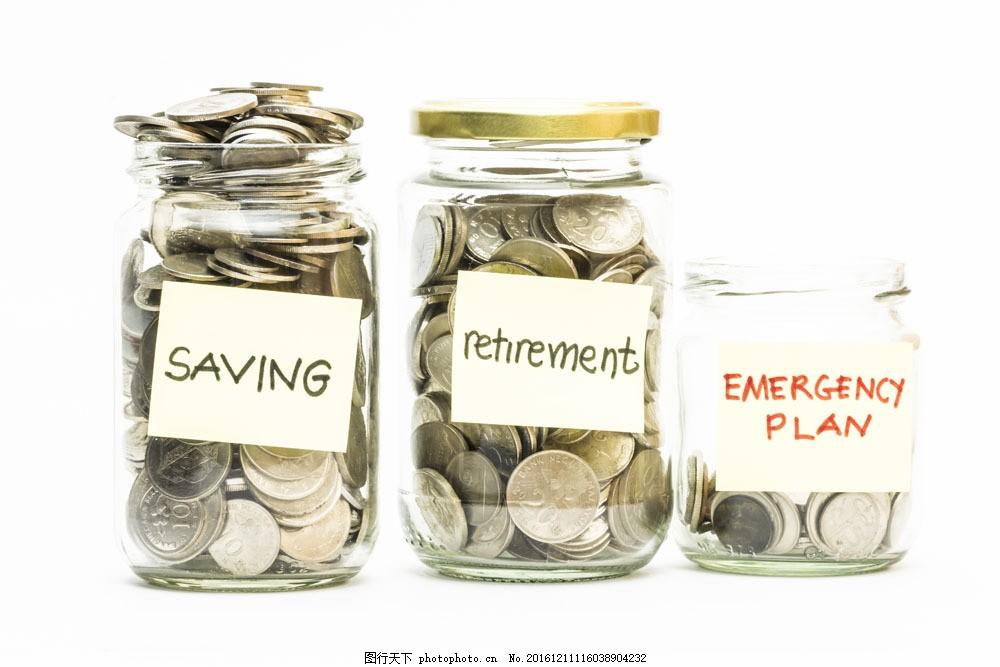 存钱罐里的硬币图片素材 存钱罐 玻璃瓶子 硬币 投资理财 金融货币 钱