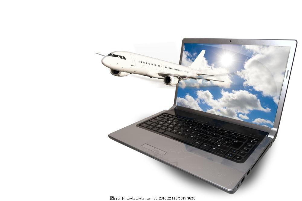 色彩生活创意 色彩生活创意图片素材 飞机 笔记本 电脑 科技 通信