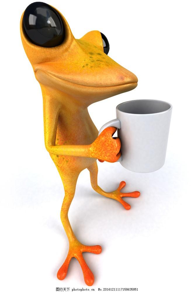 端着杯子的青蛙图片素材 有趣的动物 青蛙 3d青蛙 杯子 动物 其他类别