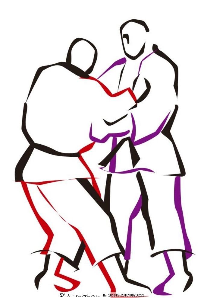 柔道 截拳道 跆拳道 体育彩绘 插画 装饰画 简笔画 线条 线描 简画 黑