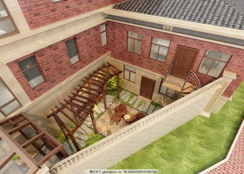 独栋别墅小院俯视图