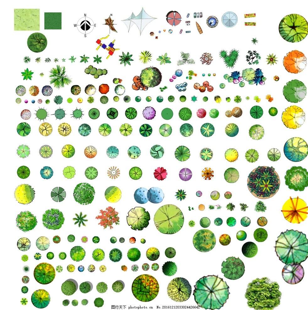 绿化平面图例 绿化 平面 图例 psd 园林 景观 素材 灌木 素材psd 设计