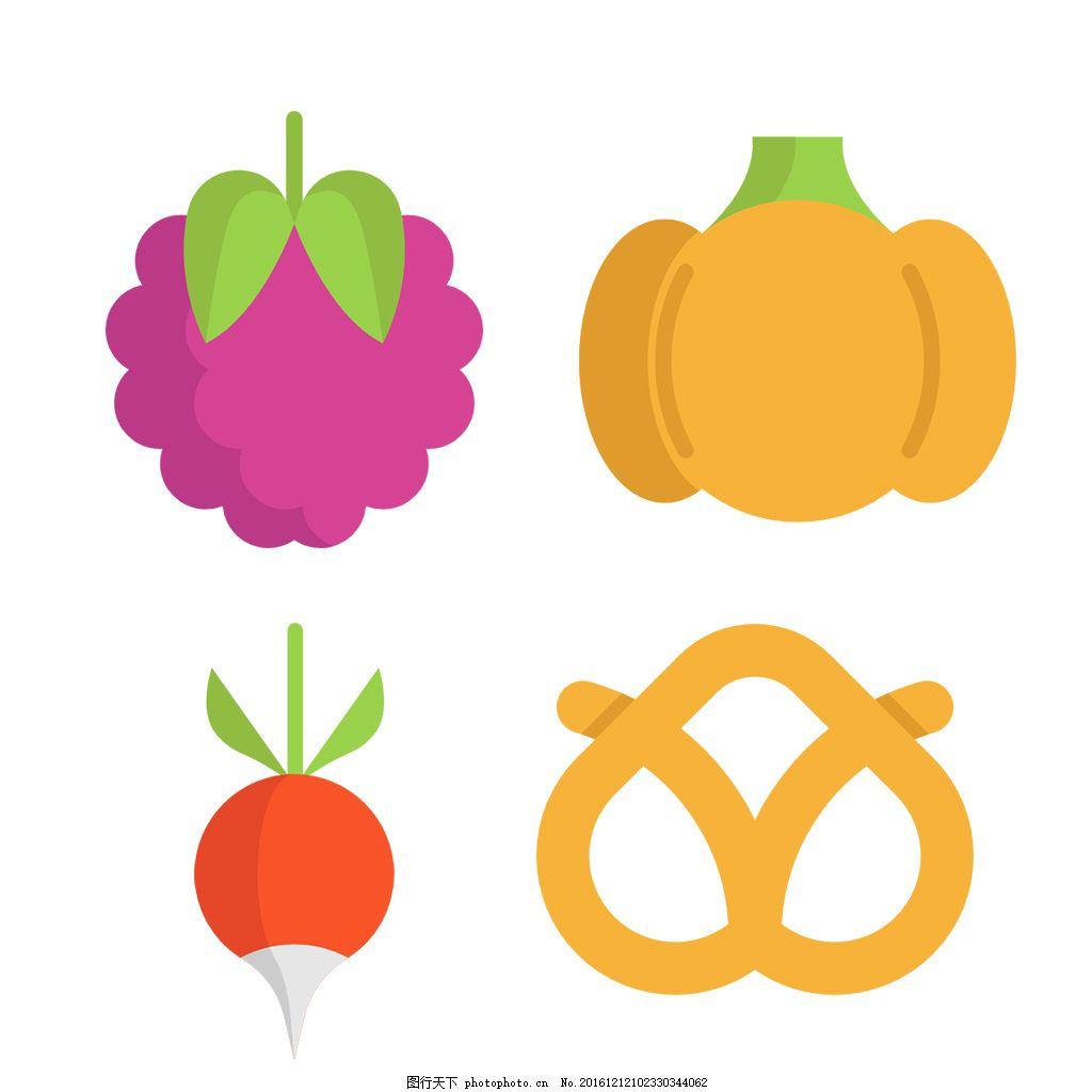 手繪可愛蔬果icon圖標 填充 線性 扁平 手繪 單色 多色 簡約 精美