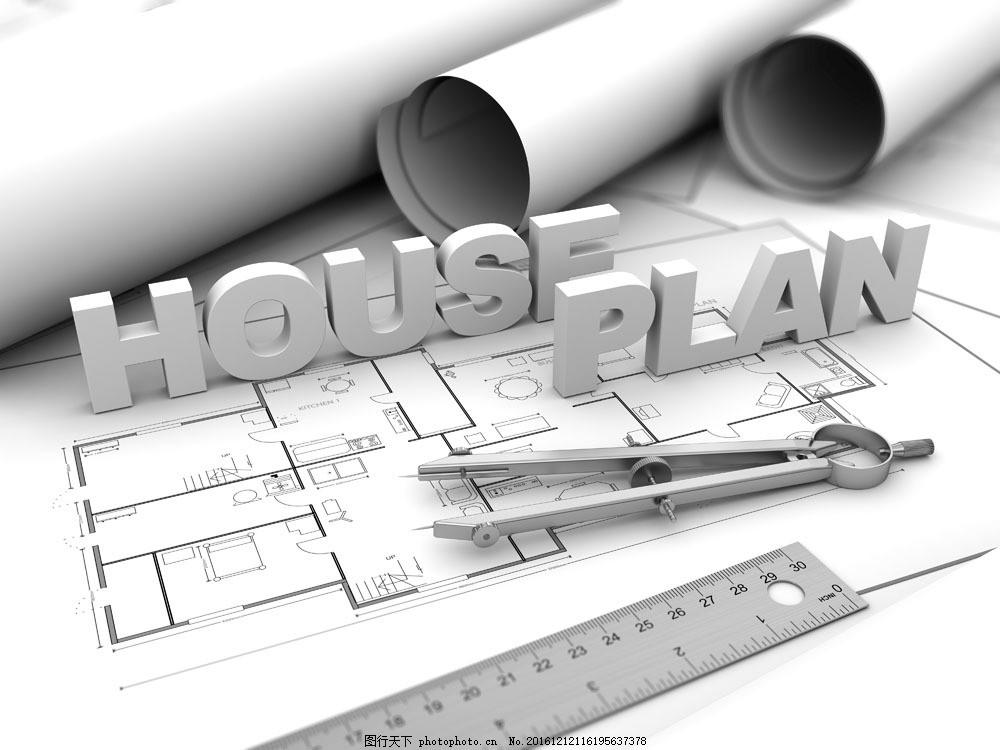 建筑设计图纸与圆规图片