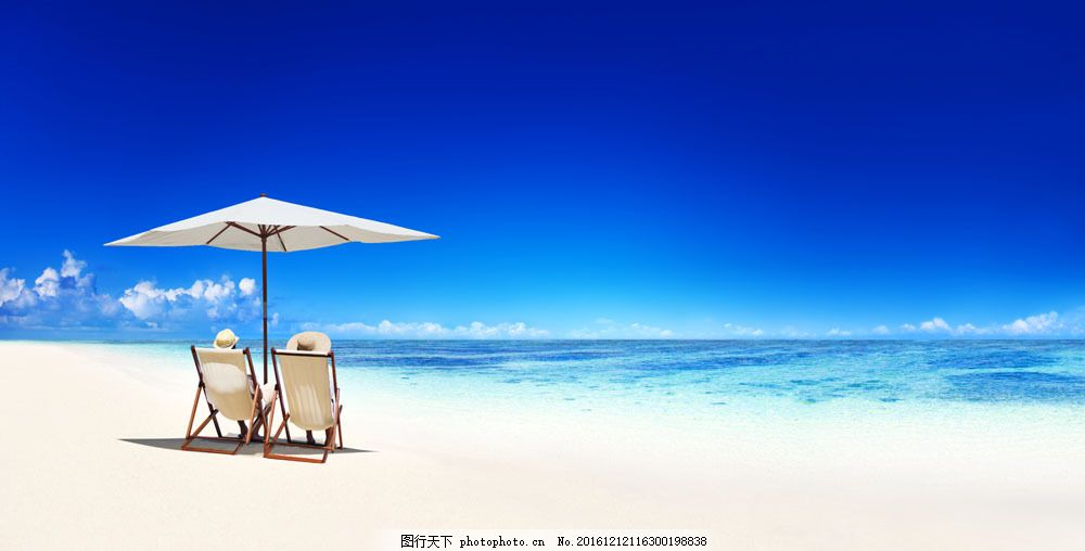 蓝天 白云 大海 海浪 海水 沙滩 太阳伞 椅子 大海图片 风景图片 图片