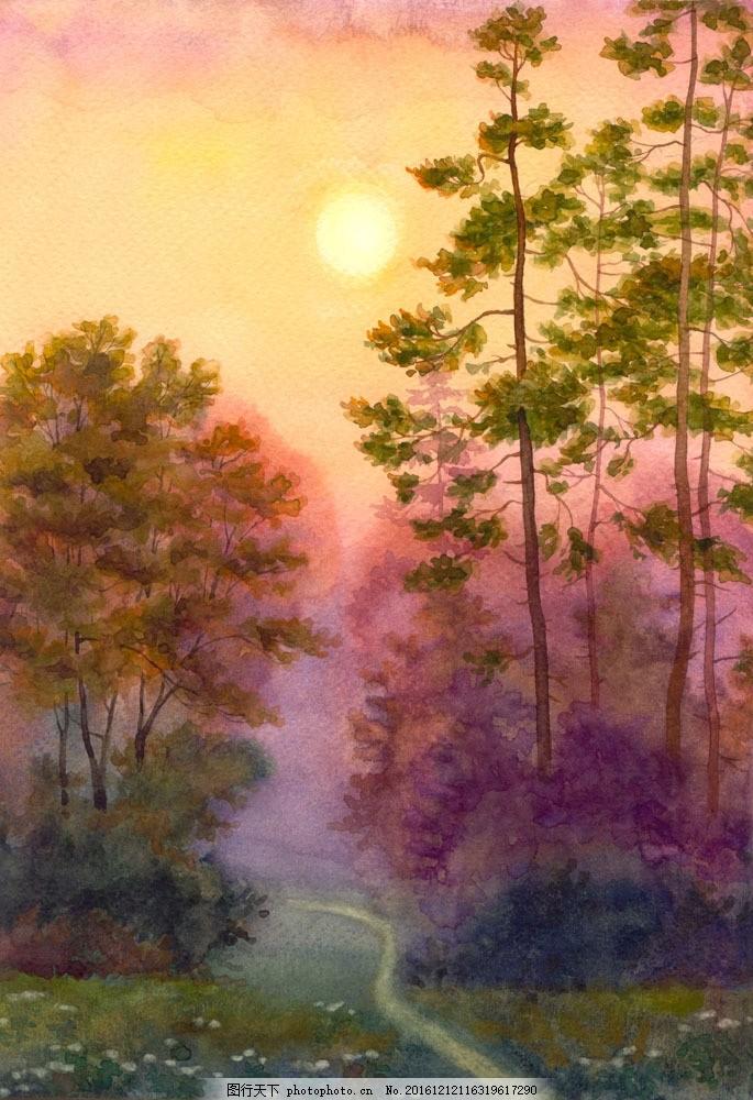 树林风景水彩画图片