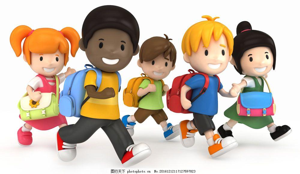 跑步上学的一群学生图片素材 学习 教育 男孩 女孩 儿童 学生 卡通图片