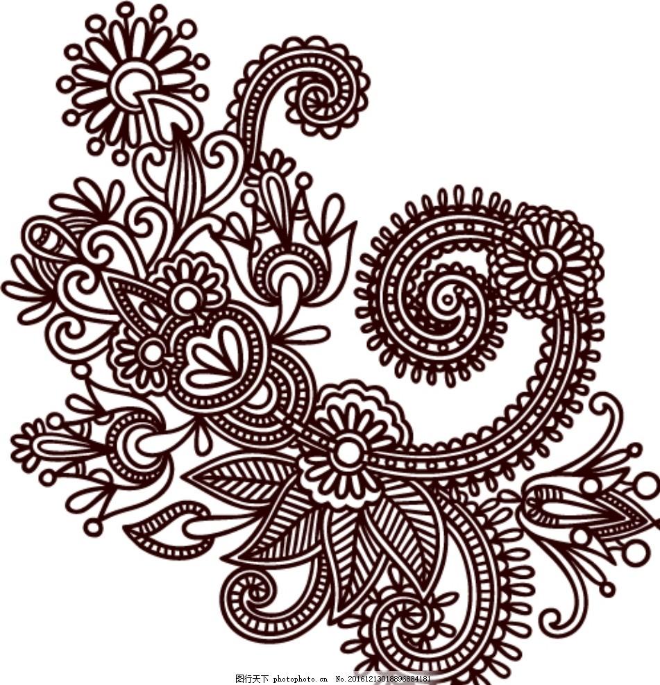 中国传统剪纸花纹矢量图 复古 分层设计图-传统花纹 矢量简笔画
