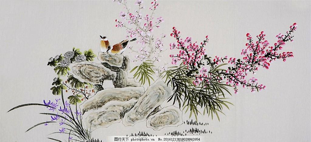 工笔画 花卉鸟