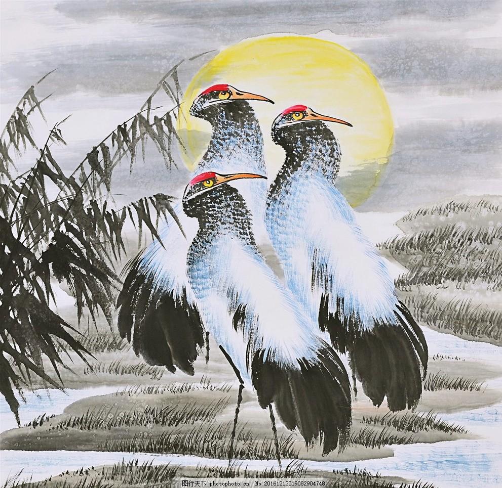 白鹭 水墨画 叶子 夕阳 河流 动物