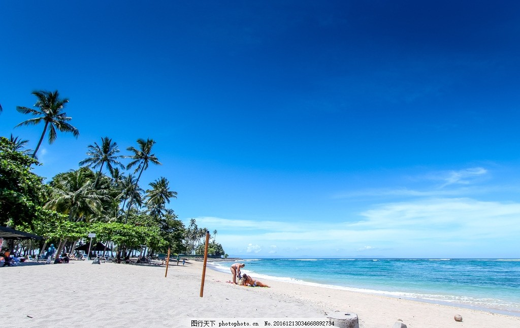 海边 沙滩 大海 树木 海水 海浪 深蓝色 天空 云朵 海边沙滩