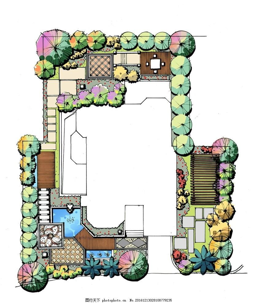 彩色平面图 psd效果图 psd彩平 彩平 别墅手绘psd 别墅设计 设计 环境