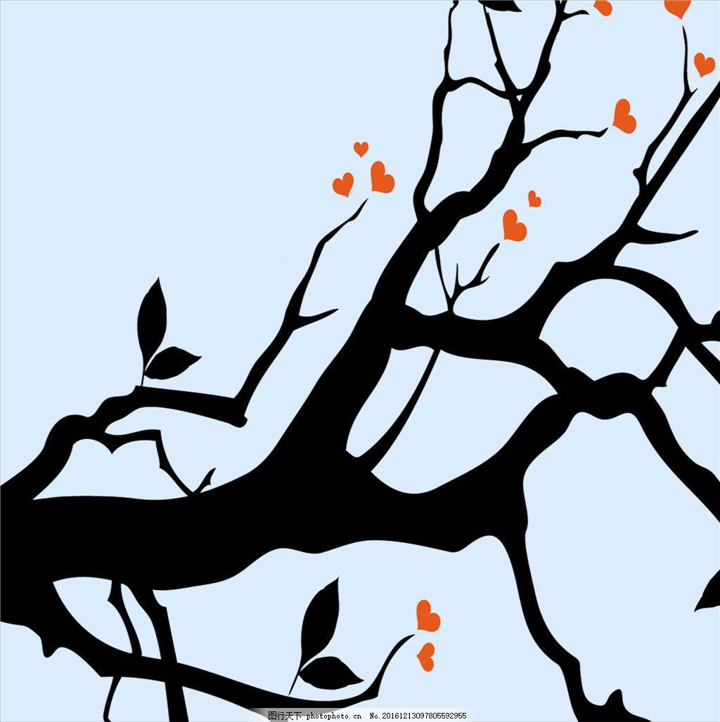 大树干爱心小花装饰画