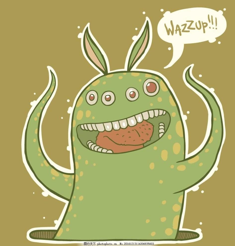 卡通怪物素材 矢量文件 文字字母 儿童卡通 十二生肖 卡通动物