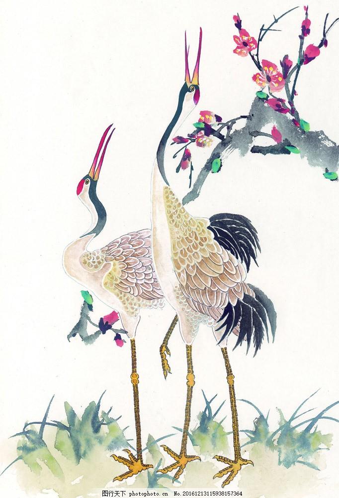 水墨画 名画 水墨仙鹤 花鸟画 风景写意画 国画 中国画 绘画艺术 装饰