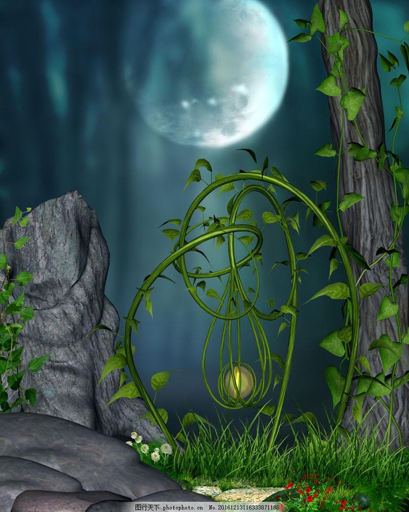 美丽月亮与树木植物风景图片
