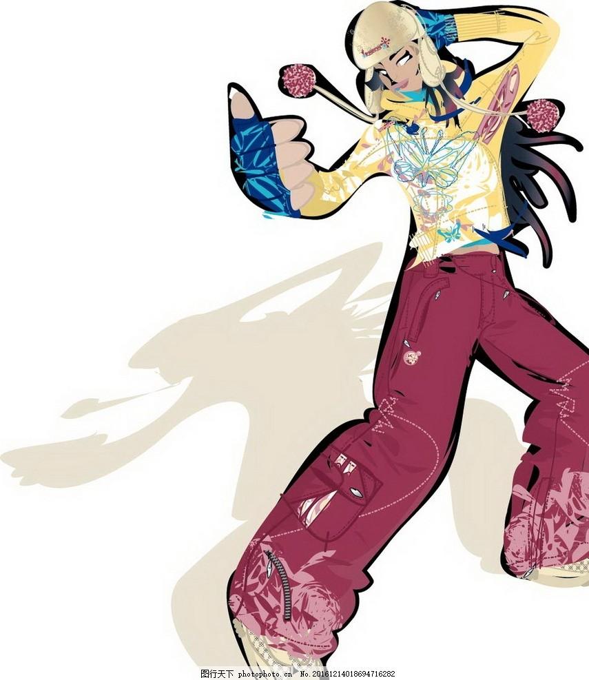 卡通街舞女士素材