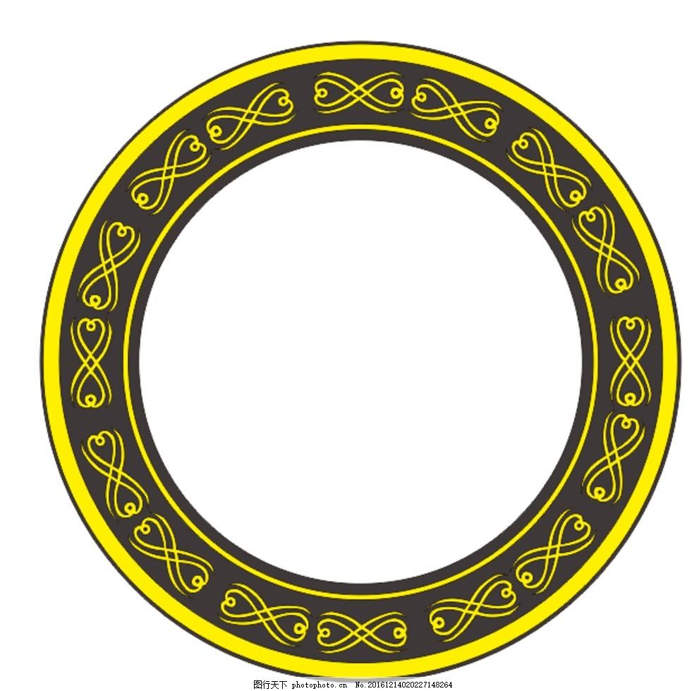 心形圆花边框 古典边框 矢量图花边 简易花边