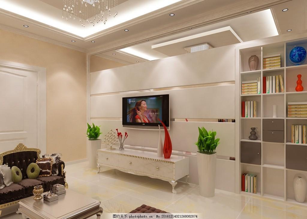 欧式客厅      欧式 现代 简约 隐形门 设计 3d设计 室内模型 72dpi