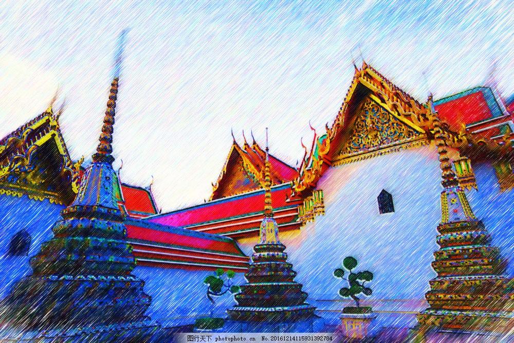 泰国风景油画图片