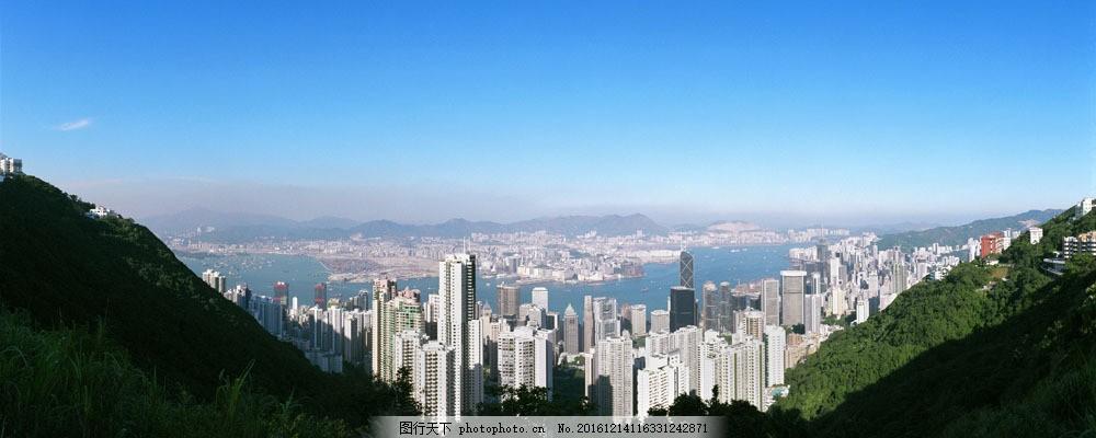 风景 宽幅风景图 美境 宽阔 城市鸟瞰图 高楼大厦 天空 山水风景 风景