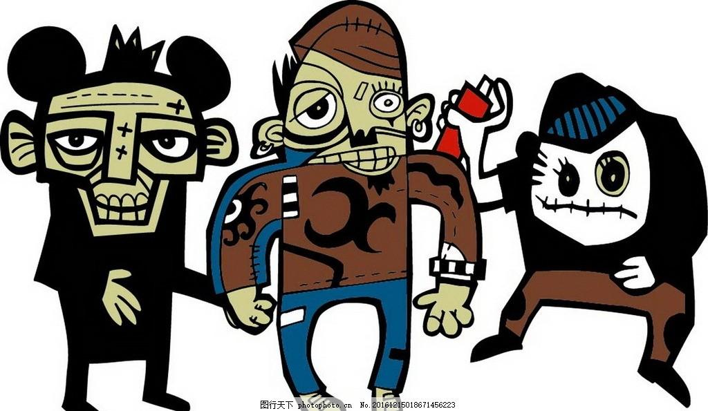 卡通万圣节人物素材 矢量文件 文字字母 儿童卡通 卡通怪物 时尚人物