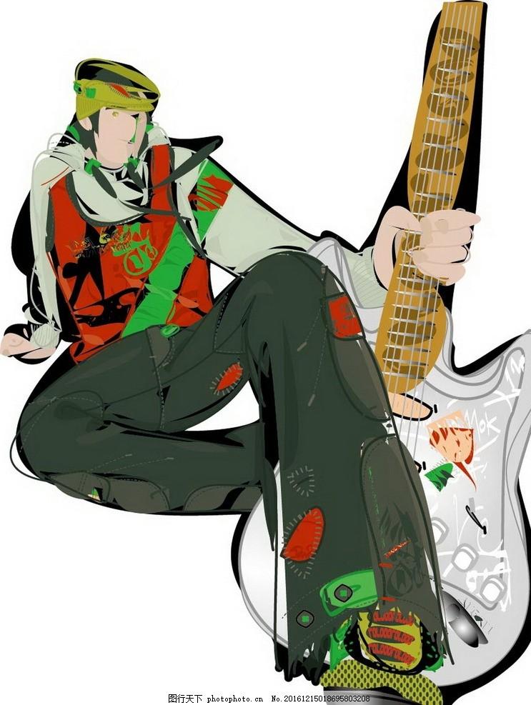 卡通吉他少年素材