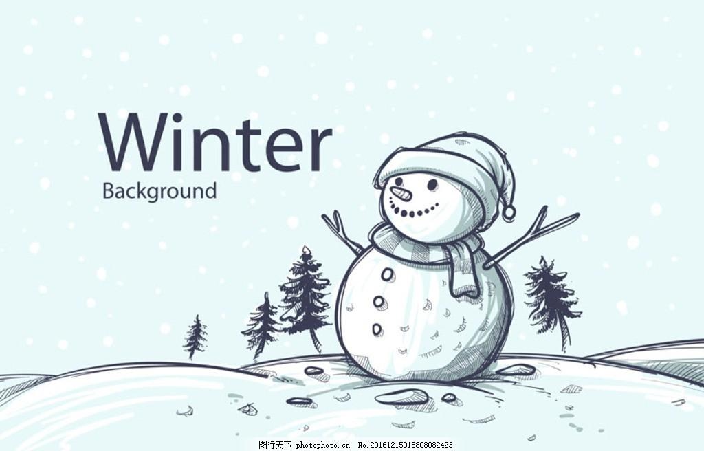 手绘小清新圣诞节雪人