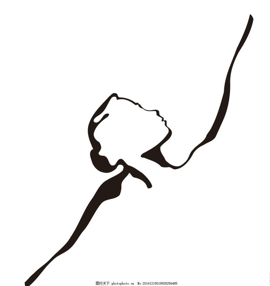 黑白手绘舞蹈背景墙