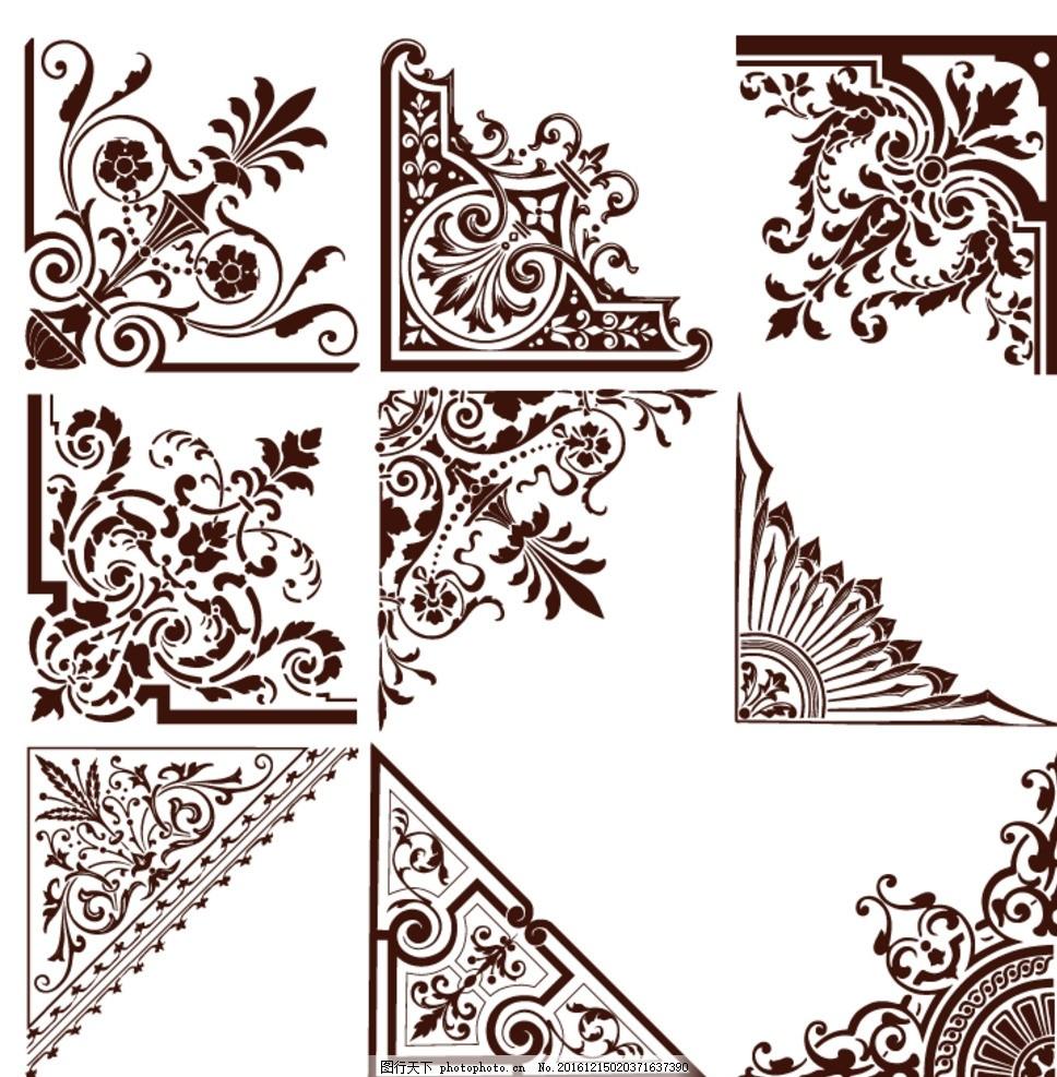 边框素材 中国风背景 圆边框 方形边框 雕花 角花 中式纹路 文化牌