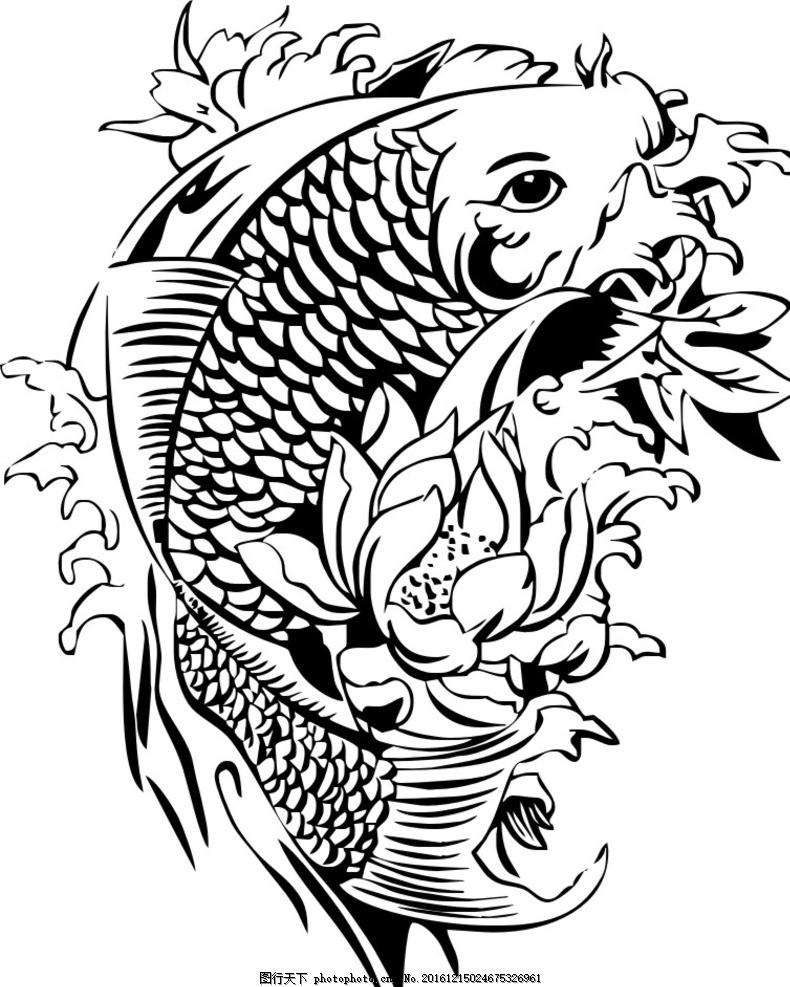 鱼 黑白 矢量图 手绘 国画 水 动物 动植物 设计 生物世界 鱼类 cdr