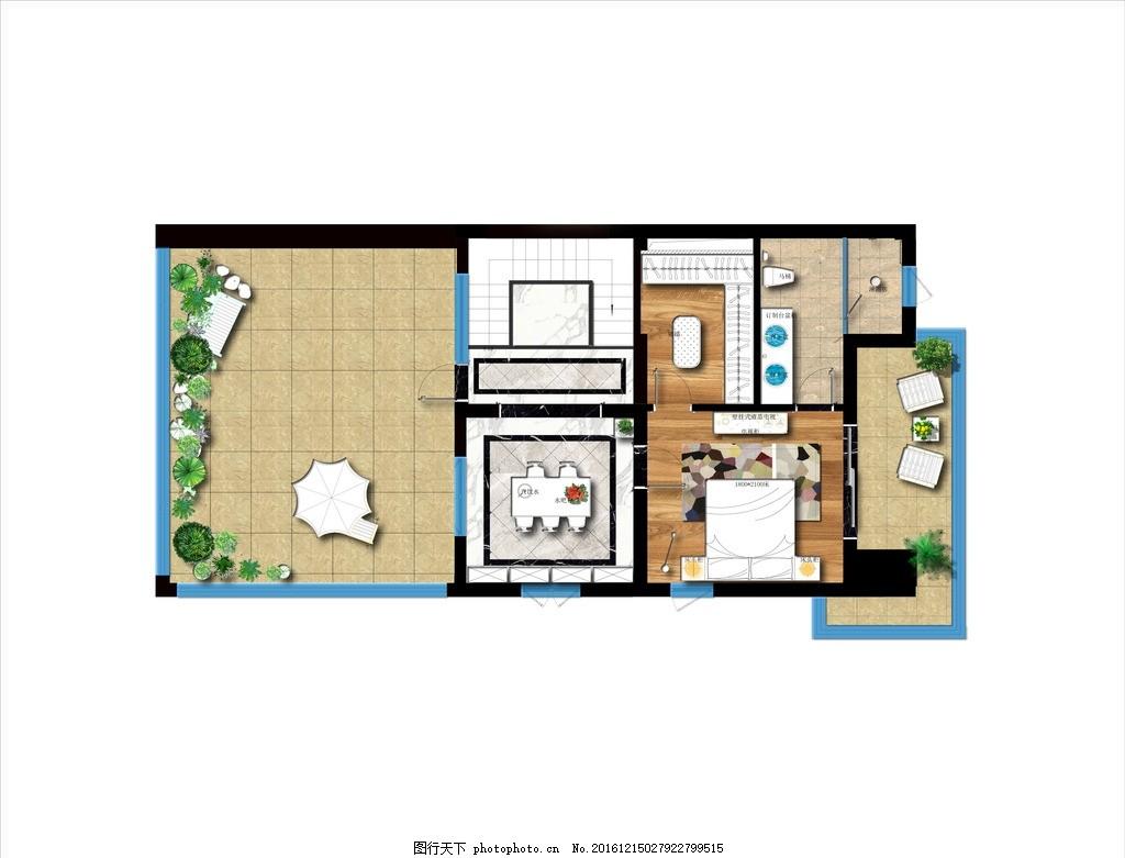 彩色平面图 简约 彩平      阳台 起居室 设计 环境设计 室内设计 300