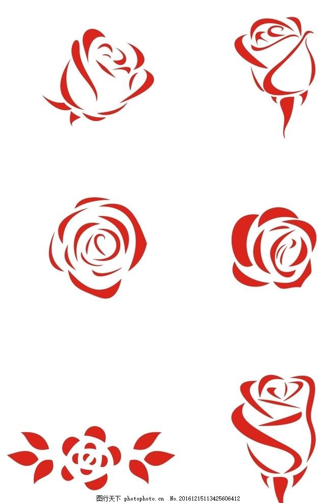 玫瑰花 logo 玫瑰标识 简化图案 玫瑰 设计 标志图标 其他图标 cdr