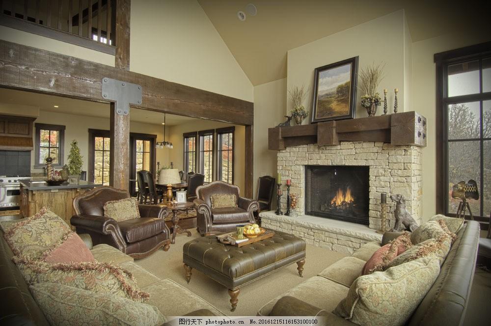 欧式别墅跃层式客厅效果图图片