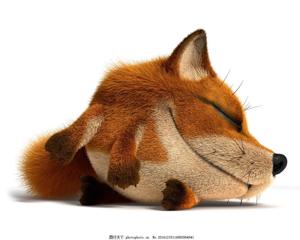 睡觉的狐狸 睡觉的狐狸图片素材 卡通狐狸 卡通动物 抽象动物 创意