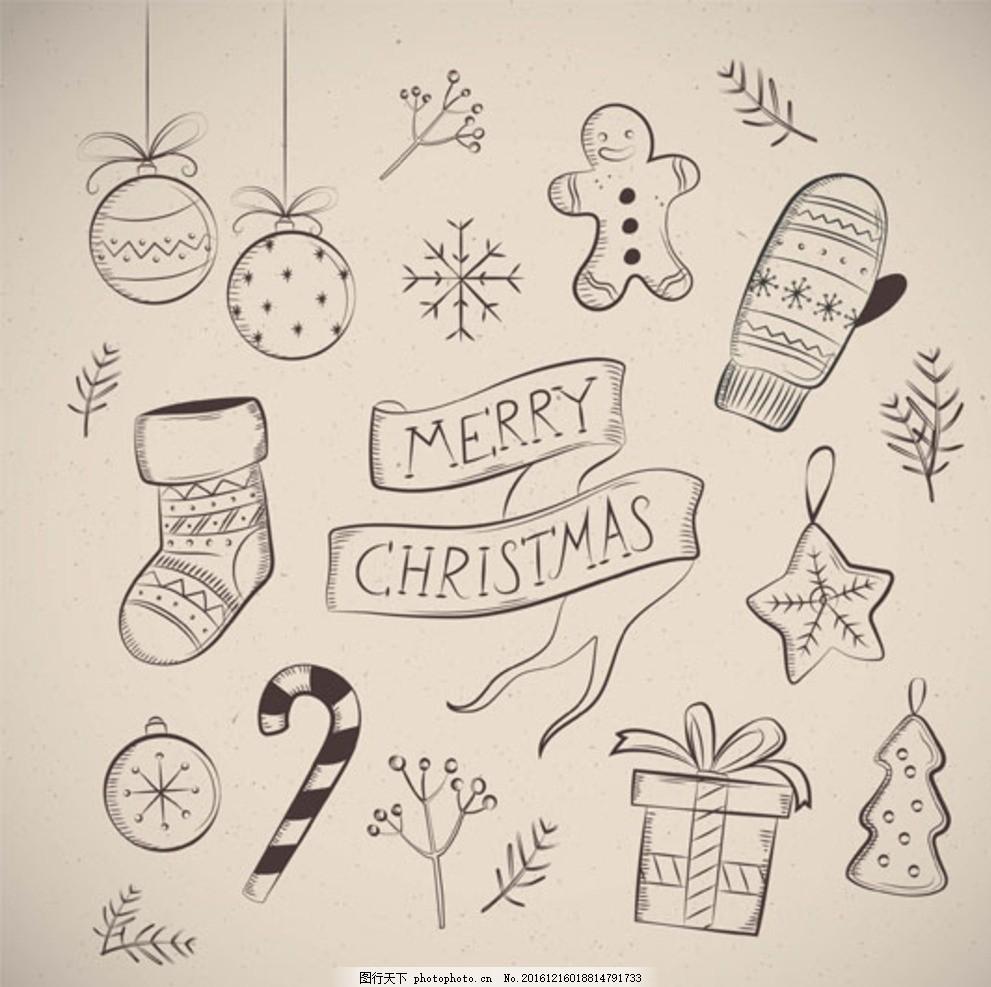 手绘黑白圣诞设计元素线稿