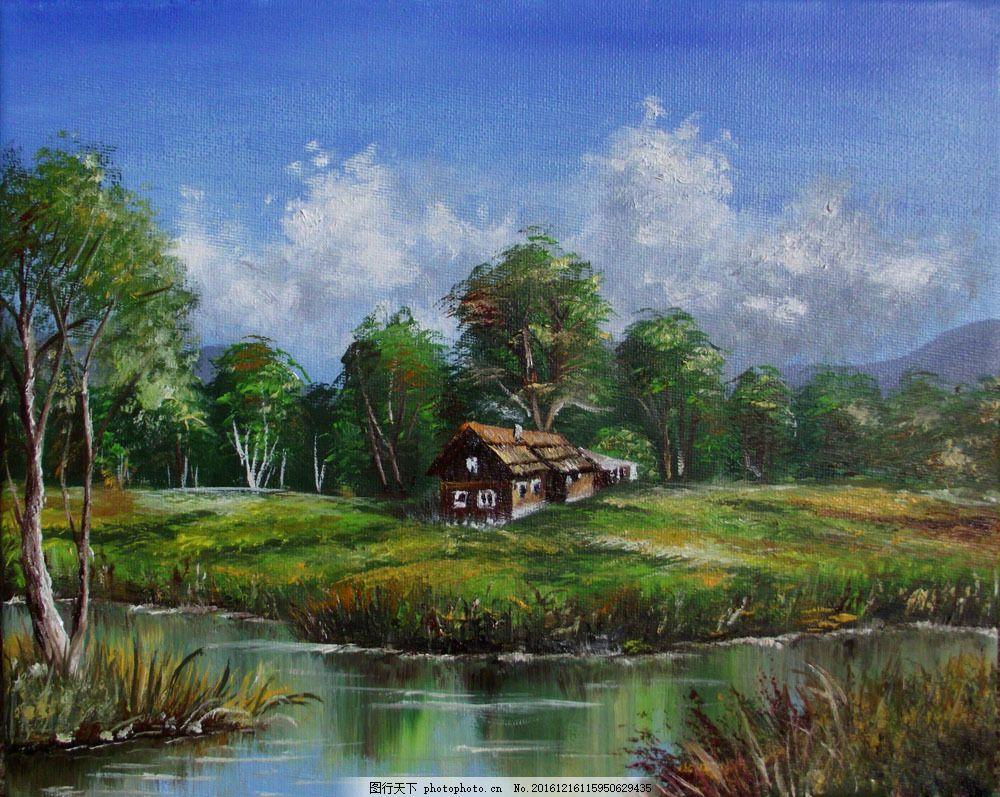 油画树木房屋图片