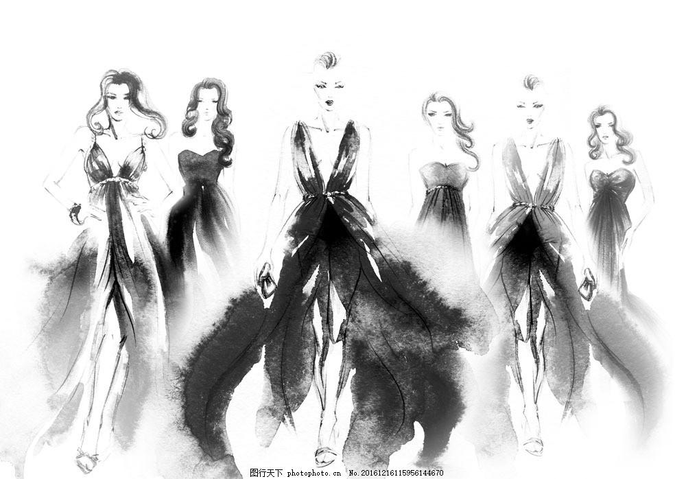 时装模特美女插画 时装模特美女插画图片素材 水墨插画 水墨画 时尚