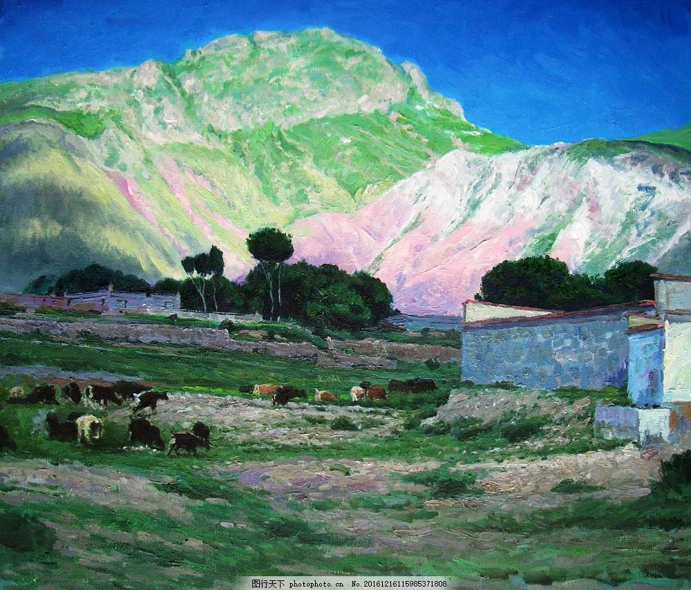 山与动物油画图片