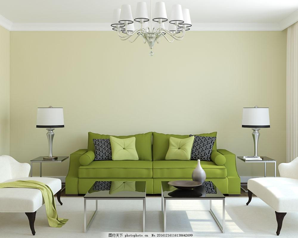 绿色沙发客厅效果图 绿色沙发客厅效果图图片素材 台灯 桌几 茶几