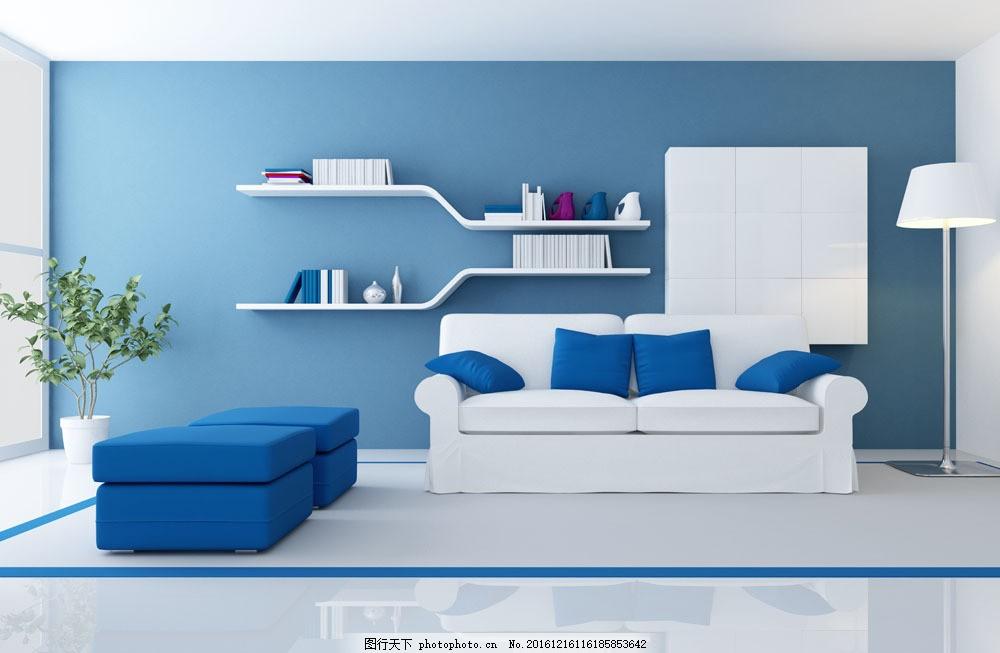 蓝色简洁客厅设计 蓝色简洁客厅设计图片素材 沙发 效果图 室内设计