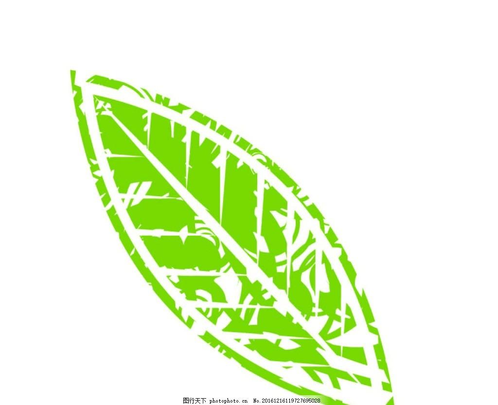 绿色树叶 绿色 叶子 树叶 矢量图 剪影 镂空 复古风 设计 文化艺术