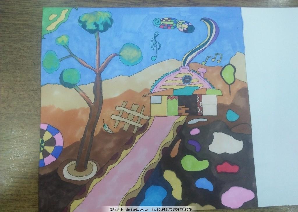 手绘 城堡 马克笔 彩色石头 装饰画 摄影 文化艺术 美术绘画 72dpi
