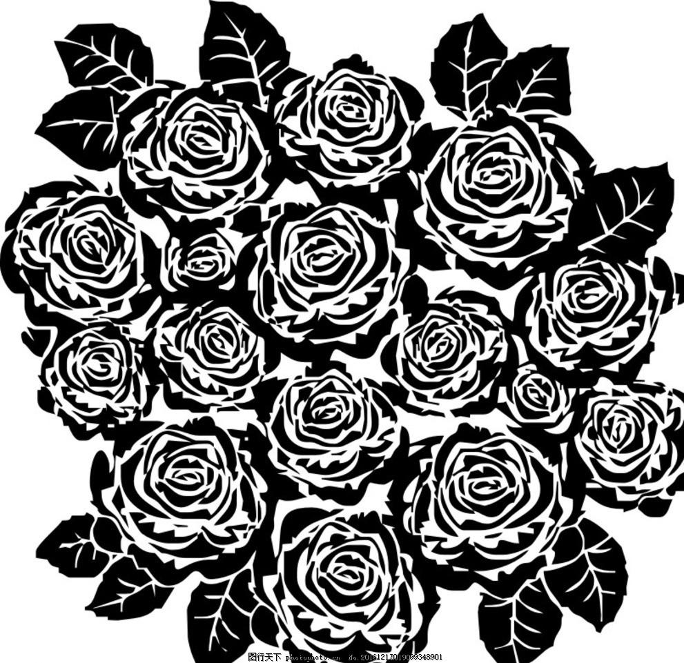 玫瑰 矢量图 黑白 手绘 花卉 植物 设计 动植物 设计 文化艺术 绘画