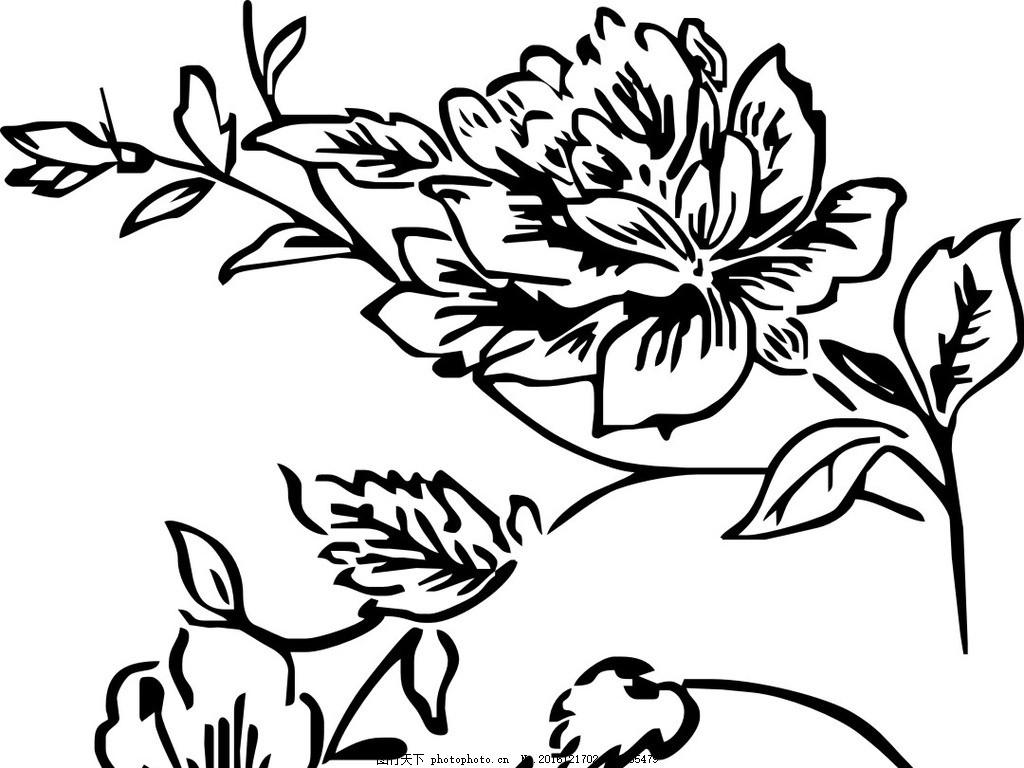 玫瑰 矢量图 黑白 手绘 花卉 植物 设计 动植物 设计 自然景观 自然风